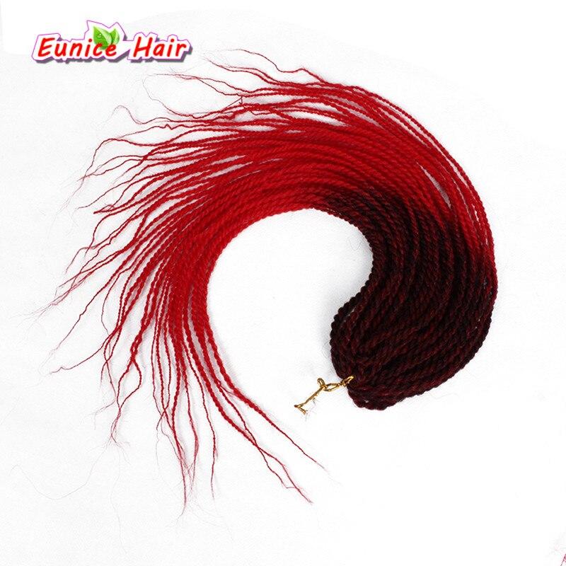Ombre # 1B/350 # 1B/Red 30 Fios 18 polegadas Torção Senegalês Crochet Tranças Extensões de cabelo Kanekalon fibra Sintética Do Cabelo Da Trança