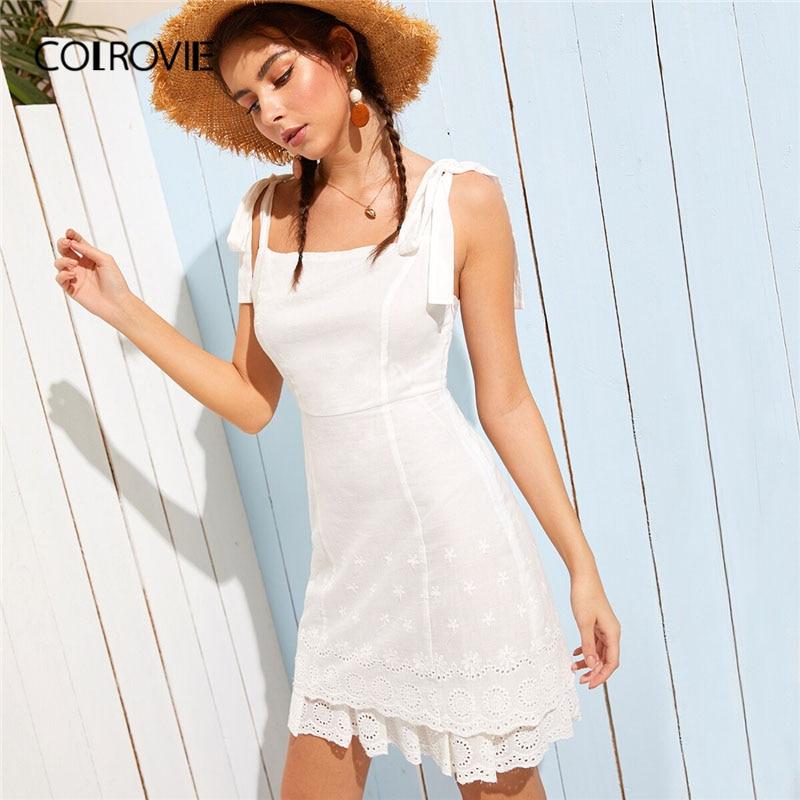 COLROVIE белые резинки узел ушко вышивка шиффи Boho короткое платье; для женщин 2019 Летний стиль рукавов слоистых праздничное платья для