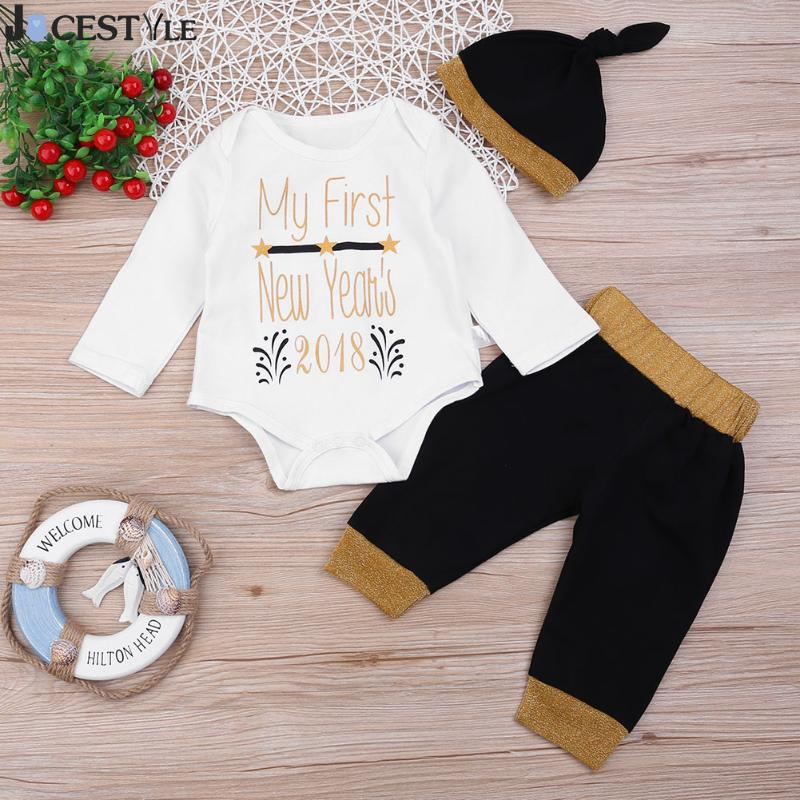 Newborn Baby Rompers Baby Girl Boy Clothes Set Baby Letters Printed Romper T-Shirt Long Pants Hat 3pcs Outfits Bebe Clothing Set
