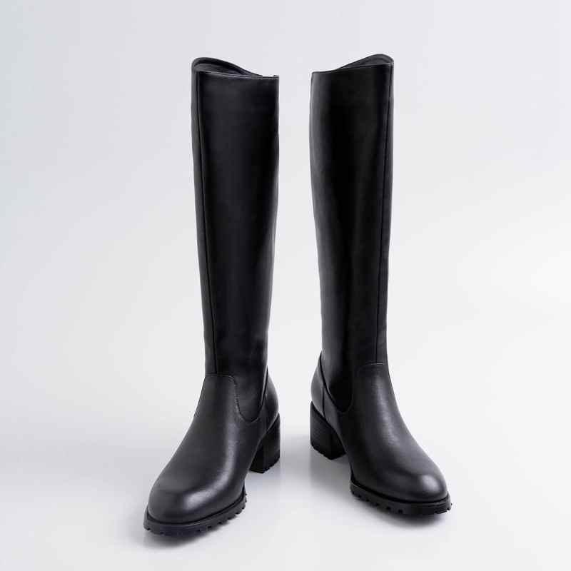 Krazing maceta nuevo streetwear zapatos de tacón de cuero genuino de invierno punta redonda Cierre de metal mantener caliente montar botas altas de muslo l33 - 2