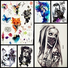 New Design Sexy Girl With Mask Temporary Tattoo Sticker Men Black Body Art Arm Flash Waterproof Tattoo Henna Tatoo Arabic Women