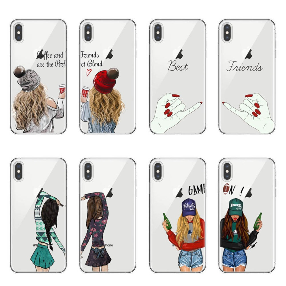 Girls <font><b>Bff</b></font> Best Friends Forever Transparent Soft Phone <font><b>Cases</b></font> Cover For <font><b>iPhone</b></font> 11 Pro XS Max X XR 8 7 6 6S Plus 5S <font><b>SE</b></font> Capinha <font><b>Case</b></font> image