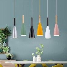 נורדי תליון אורות LED אוכל מנורת עץ מנורת עבור בר בית תאורה מודרני hanglamp