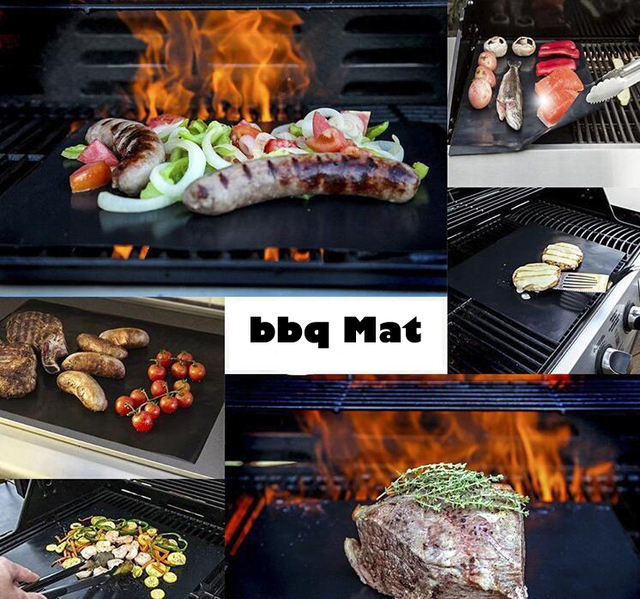 2 stuks Makkelijk Schoon Anti-aanbak BBQ Grill Mat Herbruikbare Pad Sheet Hot Plaat Gereedschap BBQ Accessoires 3