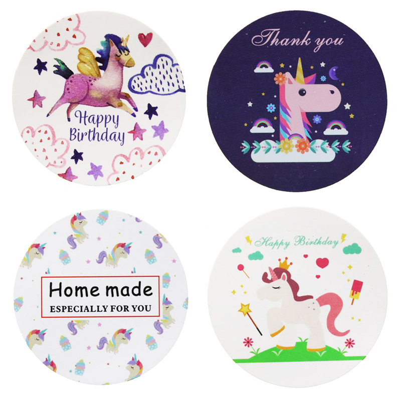 Sticker Label Gift-Bag Unicorn-Seal Cookie-Decor Candy-Box Thank-You Happy-Birthday Home-Made