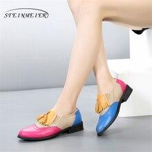 Zapatos de piel auténtica de diseñador vintage planos rojos y azules, zapatos oxford hechos a mano con borlas para mujer, primavera 2020 con piel, talla grande de EE. UU. 11