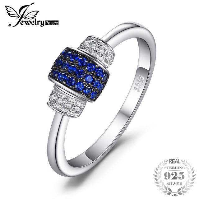 JewelryPalace Lock 0.16ct Created Blue Spinel Jewelry Ring 100% S925 Sterling Si