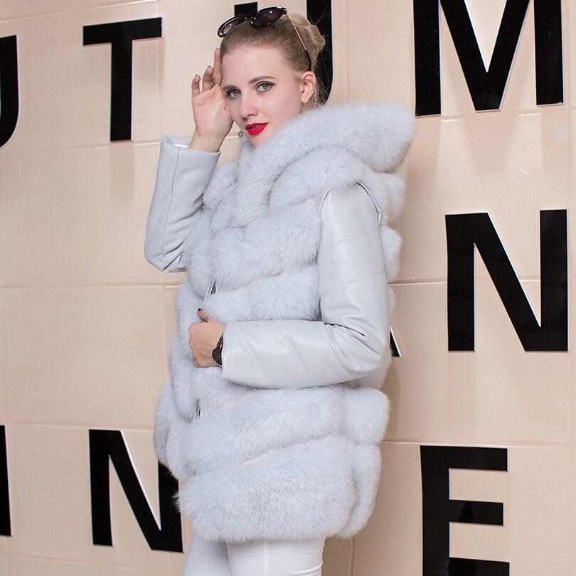 Veste Leather Manteau real Véritable Plus Sleeve Femme Survêtement Réel Nouveau Pu Femmes Parka Fourrure De Taille Sleeve Manche D'hiver Détachée La Renard qRw64RU