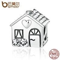 BAMOER Authentic 925 Sterling Silver Love Heart House Charms For Women Children Bracelets Families Gift Fine