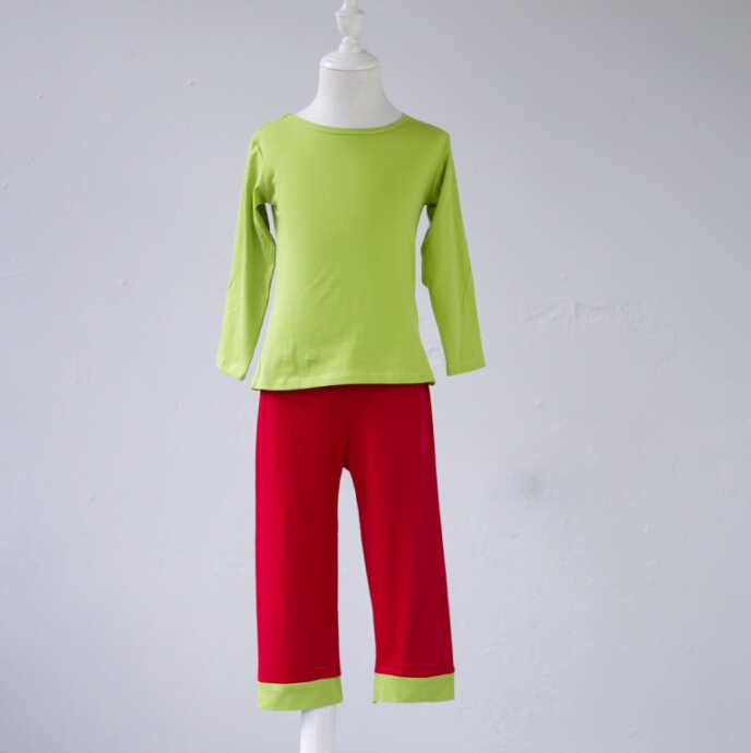 Solid color simple design lime top and red pants pajamas outfit 95% cotton soft wear chr ...