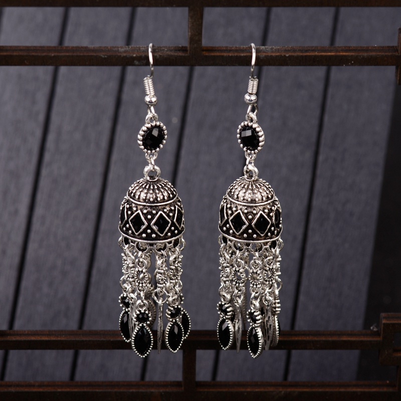 Jewelry & Accessories Earrings Tophanqi Boho Vintage Ethnic Dangle Drop Earrings For Women Indian Jhumka Jewelry Silver Color Hollow Bells Statement Earrings