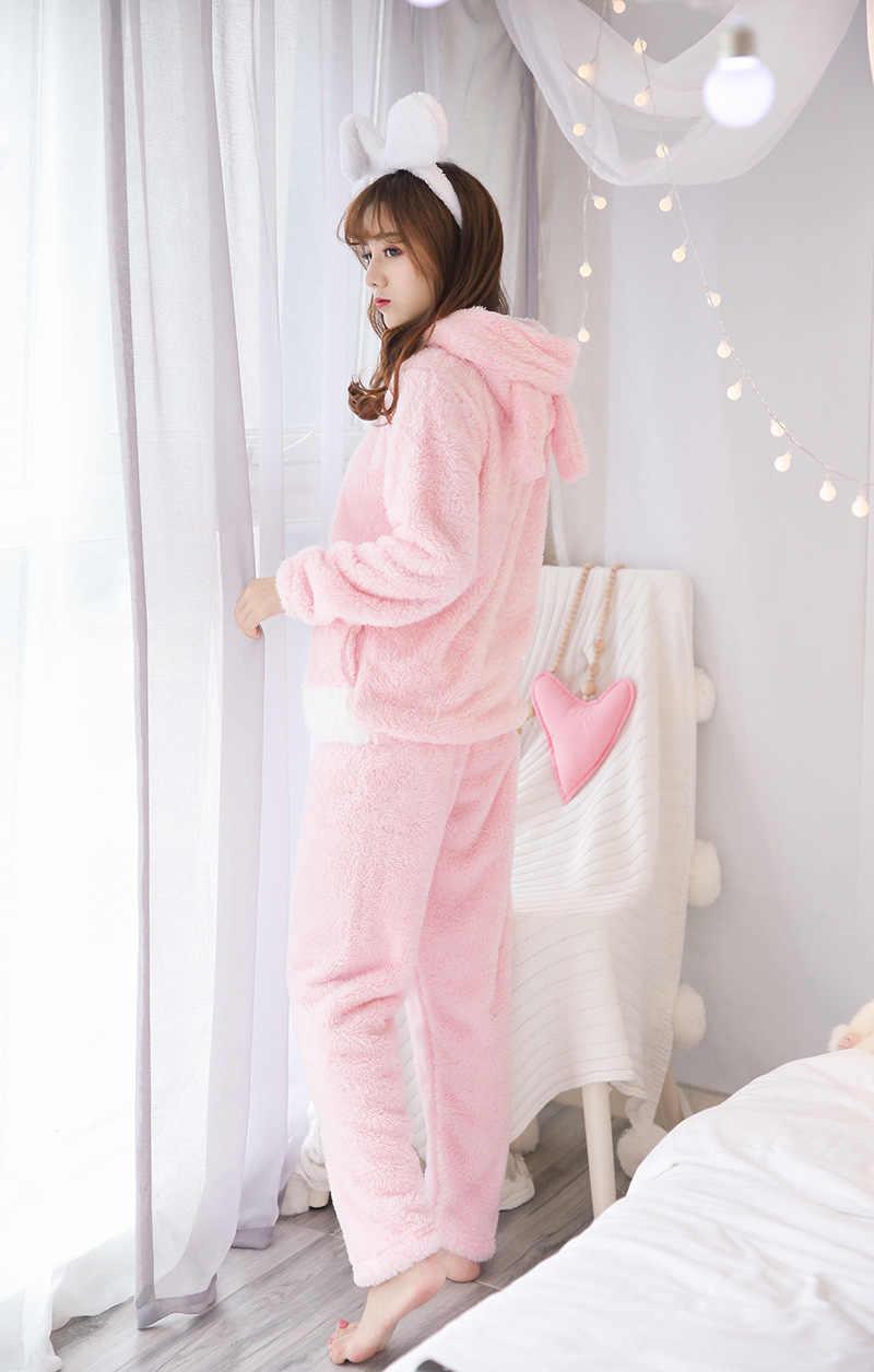 MJ027A Rosa Pyama Frau Pyjamas Flanell Pijamas Mujer Pigiama Donna Nette Pyjamas Frauen Pyjama Set Pijama Mujer Pyjamas Feminino