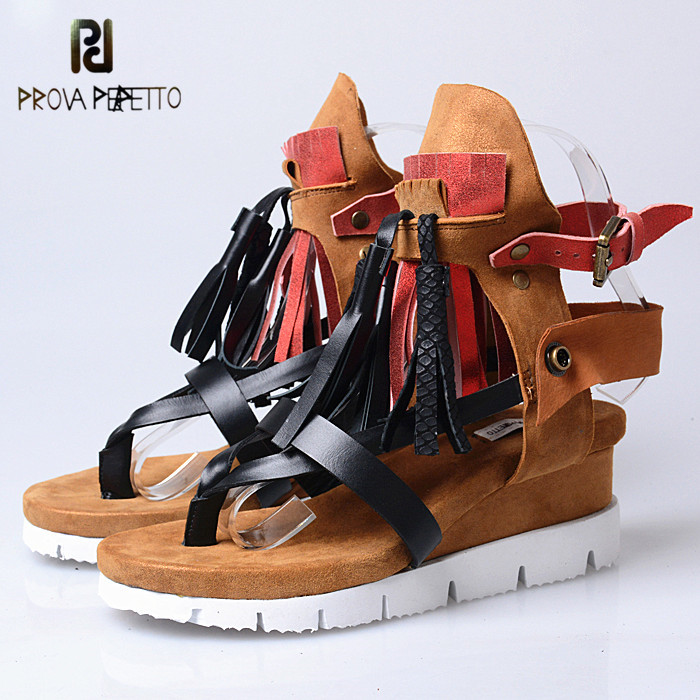 Prova Perfetto Classics Neutral Genuine Leather Causal Sandals Buckle Flange Sole Wear-Resisting Flat Women Shoes Large Size Prova Perfetto Classics Neutral Genuine Leather Causal Sandals Buckle Flange Sole Wear-Resisting Flat Women Shoes Large Size