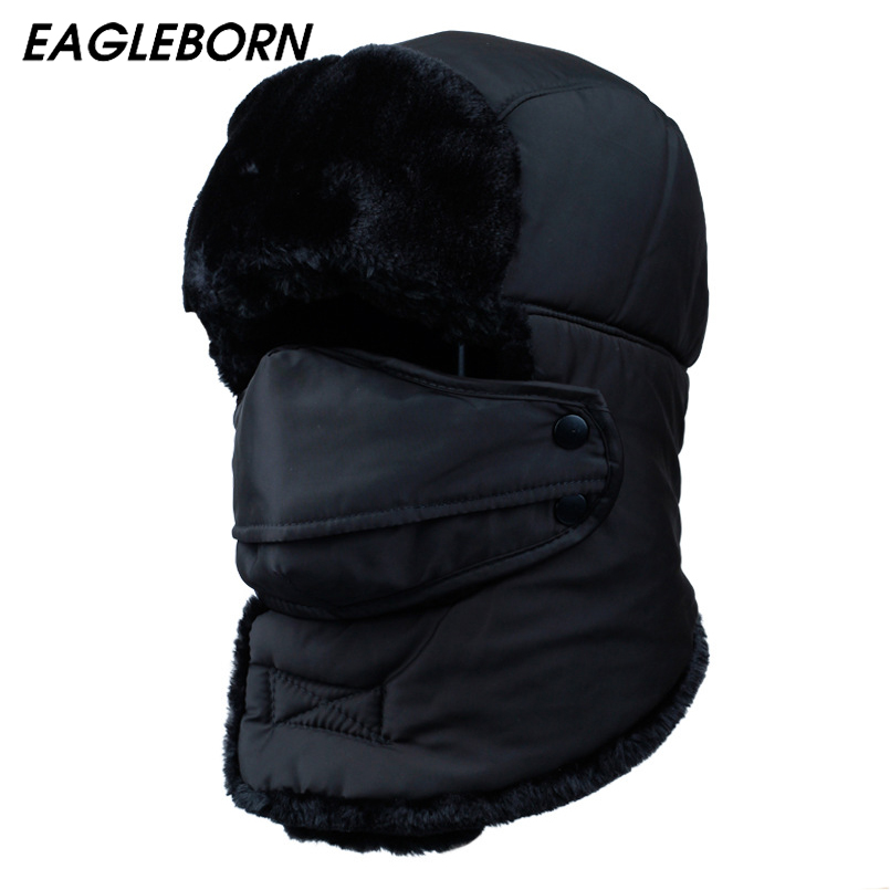 2019 Men's or Women's Fur Bomber Hats Winter Russian Hat Outdoor Warm Thicker Caps with Ear Flaps and Mask(China)
