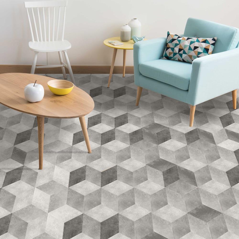 10pcs/set Hexagon Tile Floor Stickers Wall Stickers White ...
