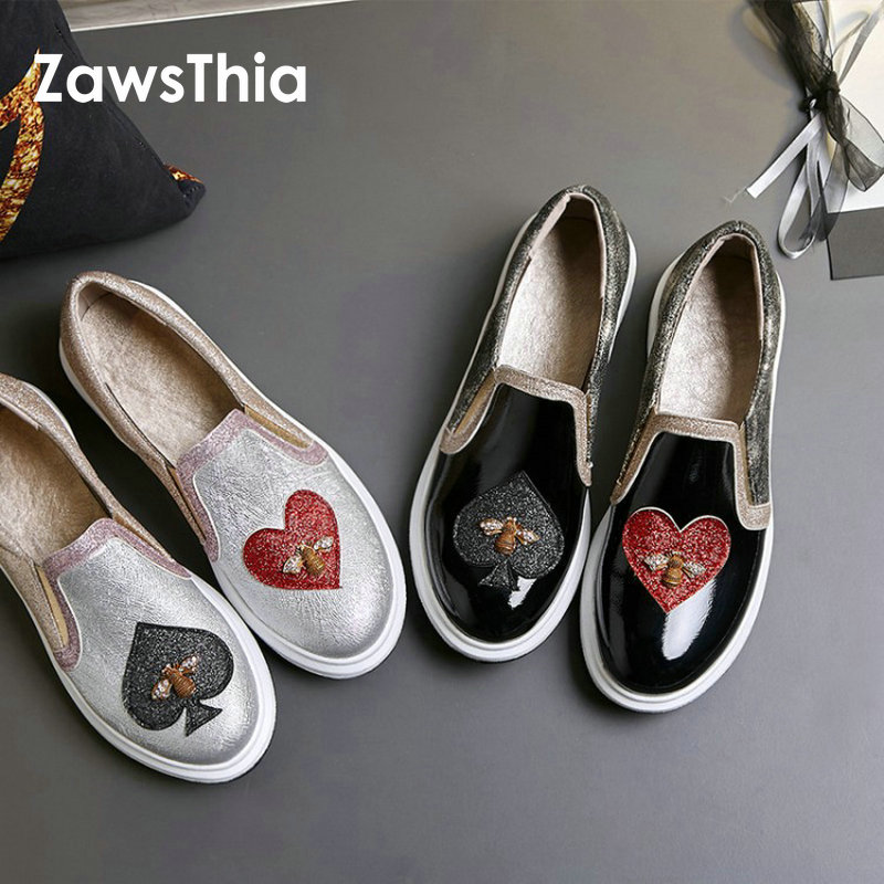 ZawsThia 2018 new PU patent leather glitter bling casual women shoes flats platform with heart bee design woman loafers slip-on lanshulan bling glitters slippers 2017 summer flip flops platform shoes woman creepers slip on flats casual wedges gold