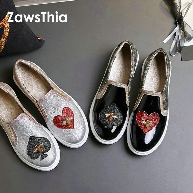 ZawsThia 2019 nouveau PU cuir verni paillettes bling décontracté femmes chaussures appartements plate-forme avec coeur abeille conception femme mocassins sans lacet