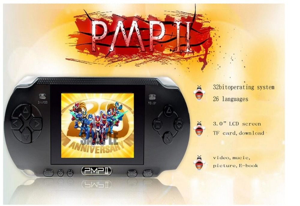 3.0 inch LCD Screen PMP Handheld Game Console 32 Bit Portable Video Game Player Built in 10000 Free Games Supports Download