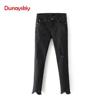 dee1f01b00 Dunayskiy Skinny Casual básica mujer Jeans Slim Ripped alta cintura borla  2018 otoño nueva Denim lápiz Pantalones para mujer