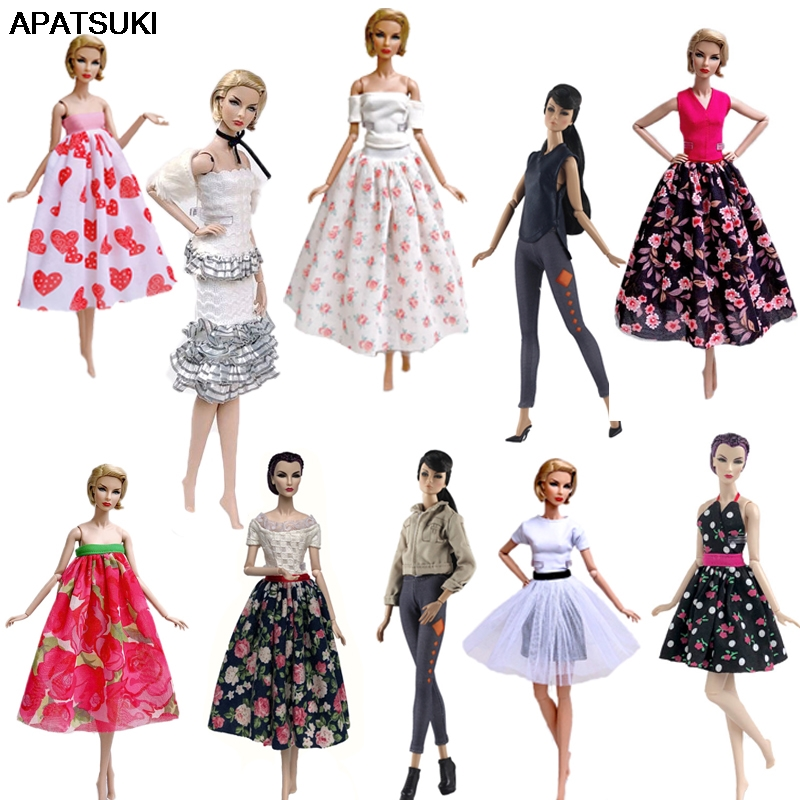Fashion Doll Clothes For Barbie Doll Outfits Floral Party Dress Gown Shirt & Midi Skirt Dress 1/6 Dolls Accessories Kids Toy