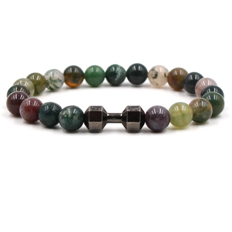 Charm Natural Stone Bracelet Dumbbell Matte Beaded Handmade Men Women Reiki Prayer Elastice Bracelets  Unisex Fashion Jewelry