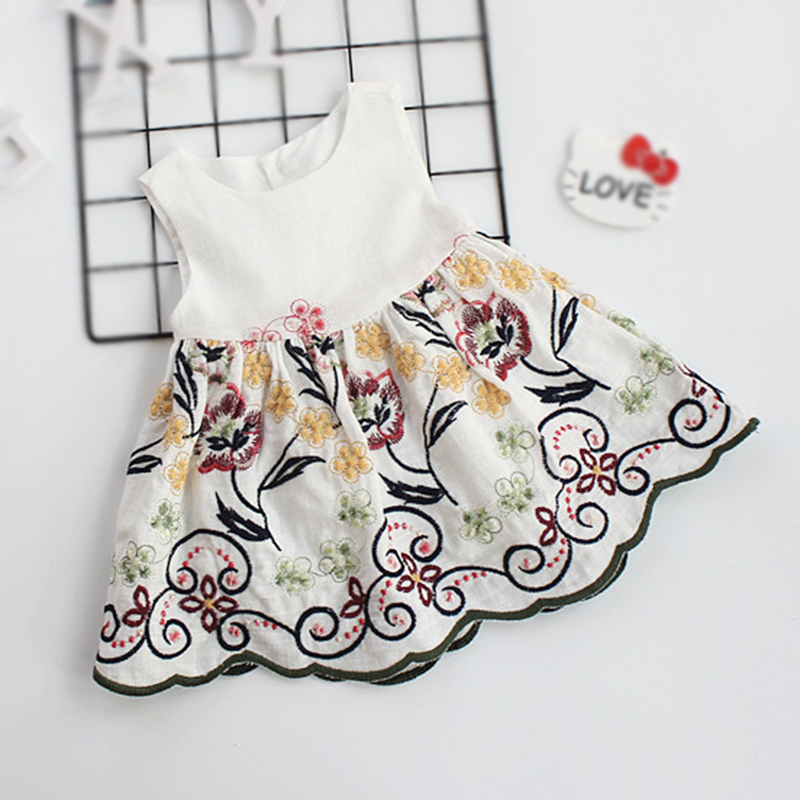 Baby Girl Clothes White Dress For Newborns Summer Flower Girl Dresses 19-24Months Childrens Party Dress For Girl