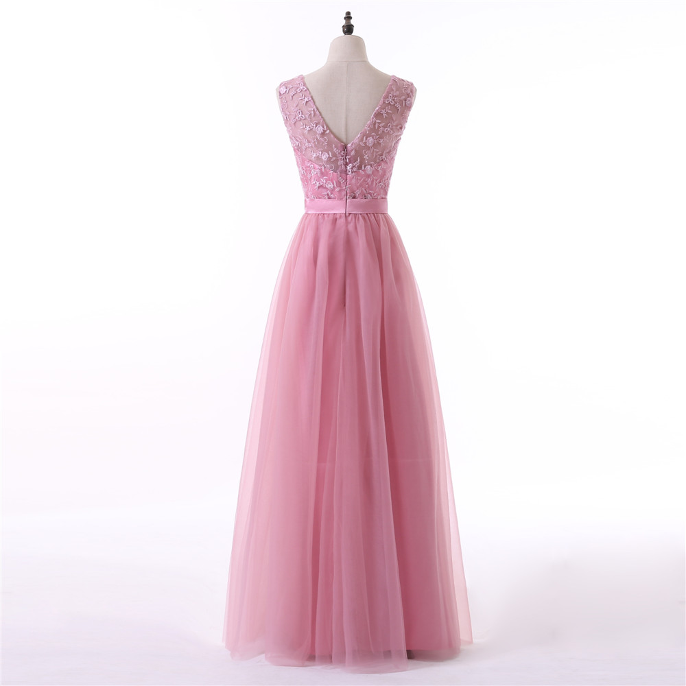 Pink Evening Dresses 2018 A-line V-neck Cap Sleeves Tulle Embroidery Women Long Evening Gown Prom Dresses Robe De Soiree 3