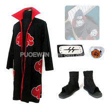 2014New  Anime Uzumaki Naruto Akatsuki Kisame Hoshigaki Cosplay Costume Full Set red cloak cosplay costume