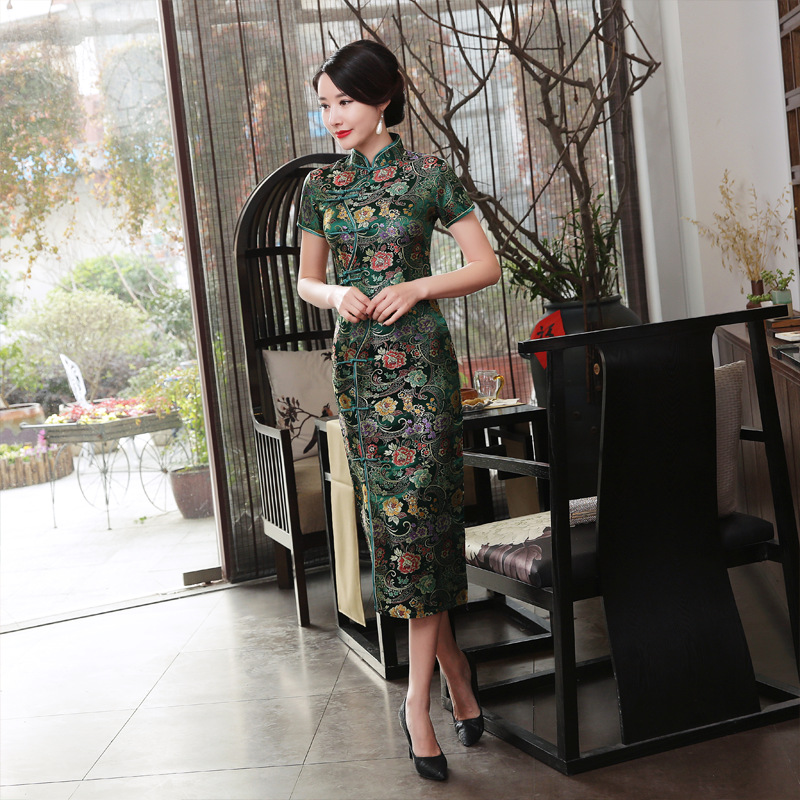 Hot Sale Satin Cheongsam Traditional Chinese High Quality Chinese Ladies' Qipao Silm Short Sleeve Novelty Long Dress S-3XL J0026