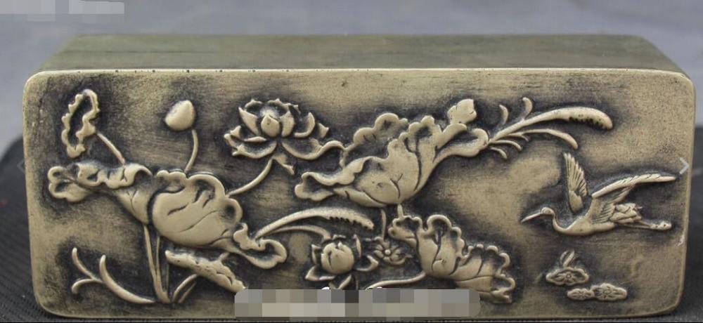 Pure Bronze Lotus Flower Leaf Grus Japonensis Casket Jewel Case Jewelry Box