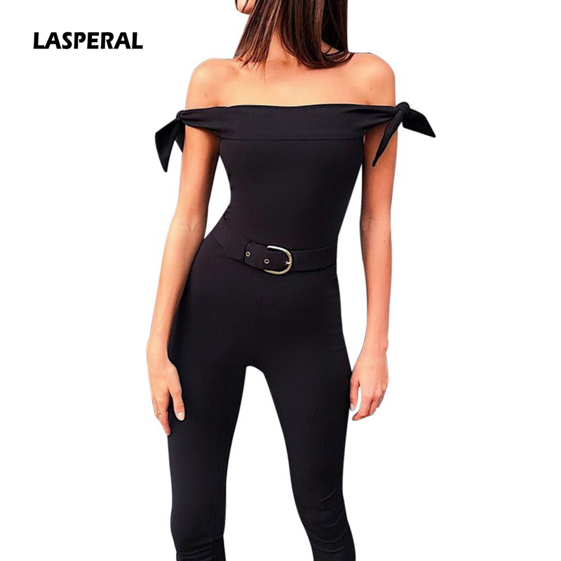 LASPERAL 2018 New Fashion Women Jumpsuit Sexy Off Shoulder Black Lace-up Long Pants Slim Jumpsuit Bodycon Skinny Overall Rompers