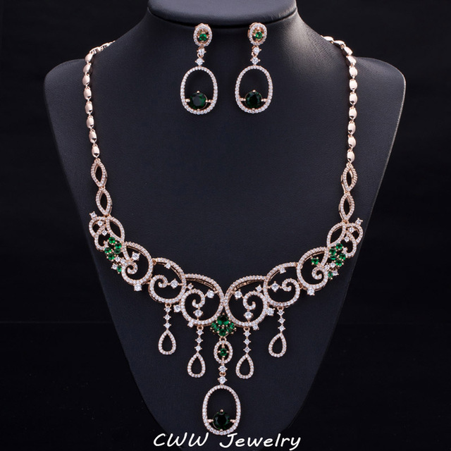De las mujeres Del Partido Accesorios Grandes pendientes Colgantes Verde Cubic Zircon Crystal Nigeriano Boda Joyería Conjunto Con El Oro Plateado T222