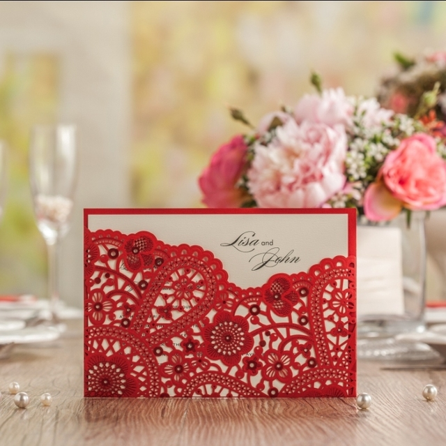 CW5263 Chinese Red Laser Cut Wedding Invitation Free Shipping Printable Customized Greeting Birthday Card