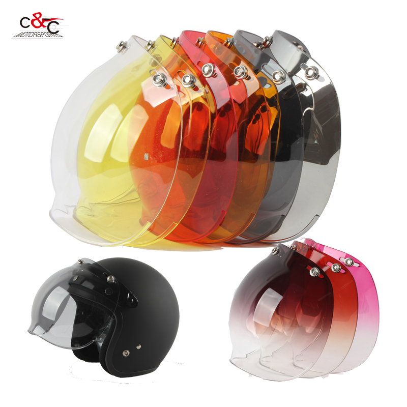 3-Snap Bubble Shield Glasses Visor for Open Face Retro Vintage Motorcycle Helmet