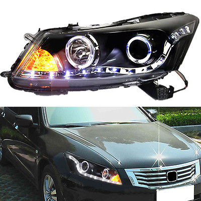 For Honda Accord 2008-2012 High quality Black Headlight Lamp Assembly Set New какую хонда honda accord или пассат б5