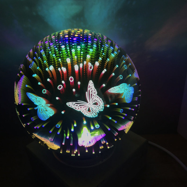 3D Magical Crystal Glass Ball Night Light Colorful USB Power Table Lamps Butterfly Snowflake Universe Rose Lover Home Kids Gifts