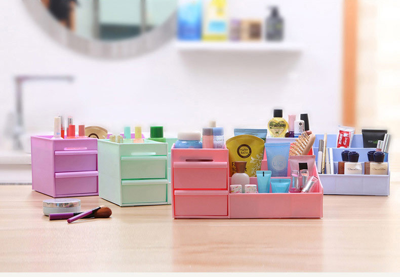 1PC Multi-grid plastic box desktop storage box cosmetic case remote control holder objects Container makeup organizer OK 0219