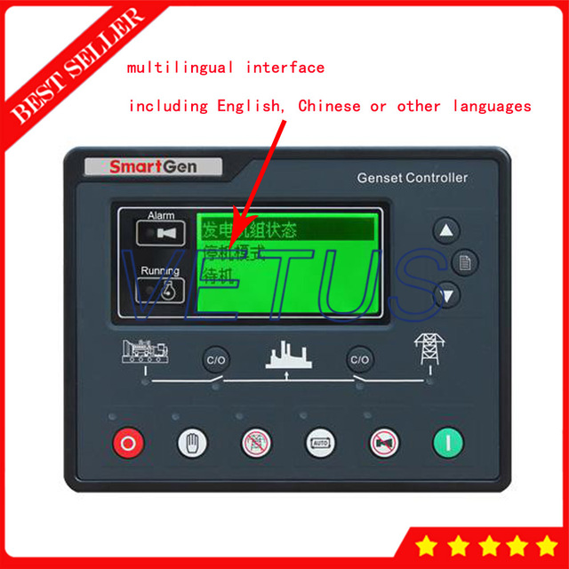 LCD Display HGM7120A Genset Controller With ARM Based 32 bit CPU For Automatic genset control system