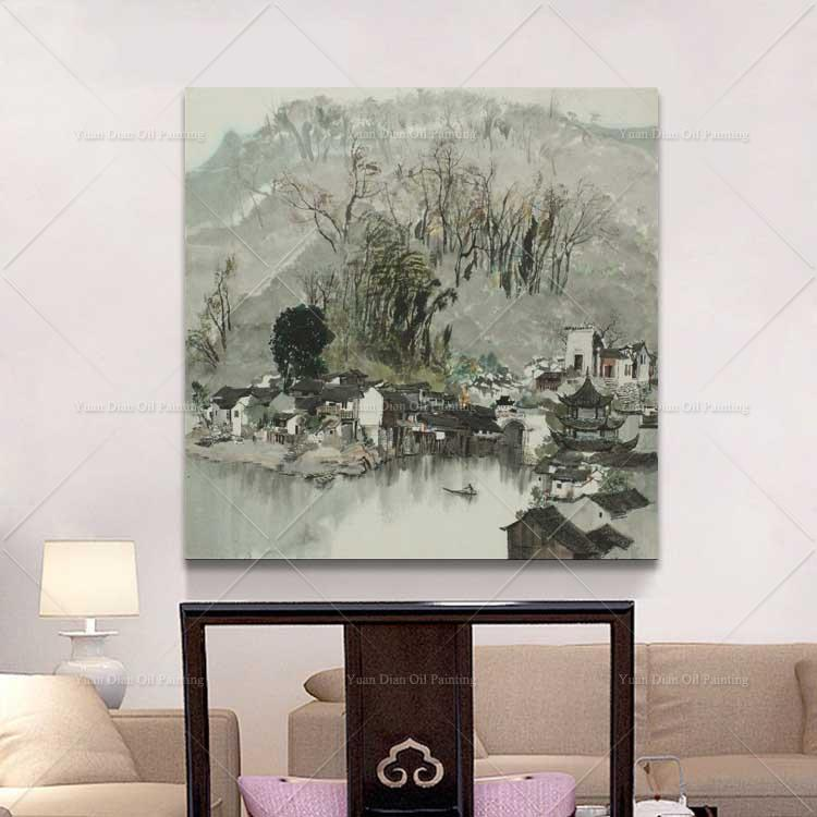 Desa Tinta Hitam Putih Tangan Dicat Lukisan Minyak Di Dinding Kanvas