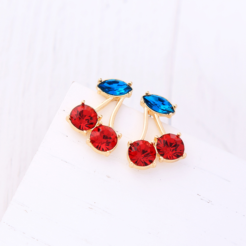 Bijoux Sweet Glass Cherry Fruit Earrings for Girls ali express Korea Fashion Women Stud Earrings Jewelry Accessories