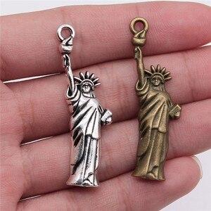 WYSIWYG 10 pièces 49x14mm pendentif Statue de la liberté breloque pendentifs Antique couleur argent Statue de la liberté pendentifs