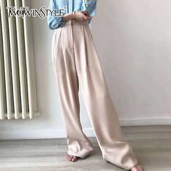 TWOTWINSTYLE Maxi Pants Womens High Waist Zipper Ruched Pocket Summer Big Size Wide Leg Pants 2018 Female Fashion OL Clothing pocket