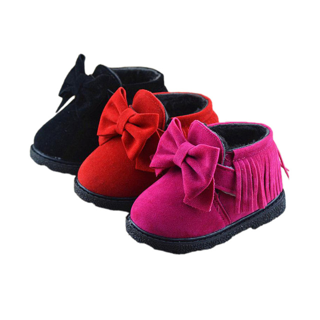 Lindo causal botas para la nieve niña zapatos bowtie fringe estilo Europeo zapatos del niño de 3-24 M bebé recién nacido infantil botas zapatos