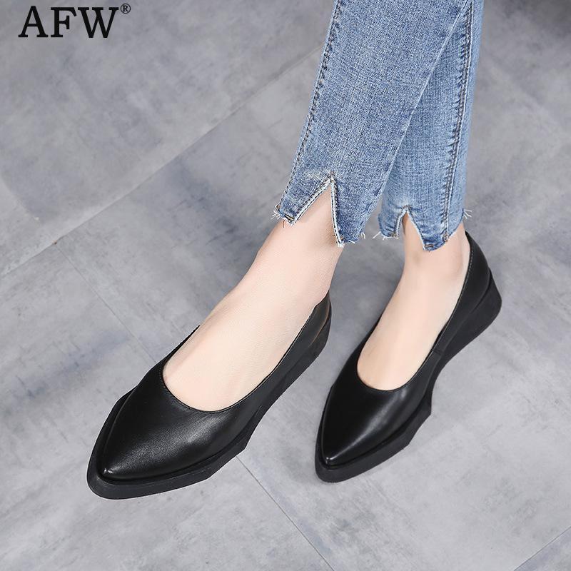 Afw женский, черный Насосы Обувь на низком каблуке с заостренным носком черный ленивый Обувь Пояса из натуральной кожи в стиле ретро Кожаные ...