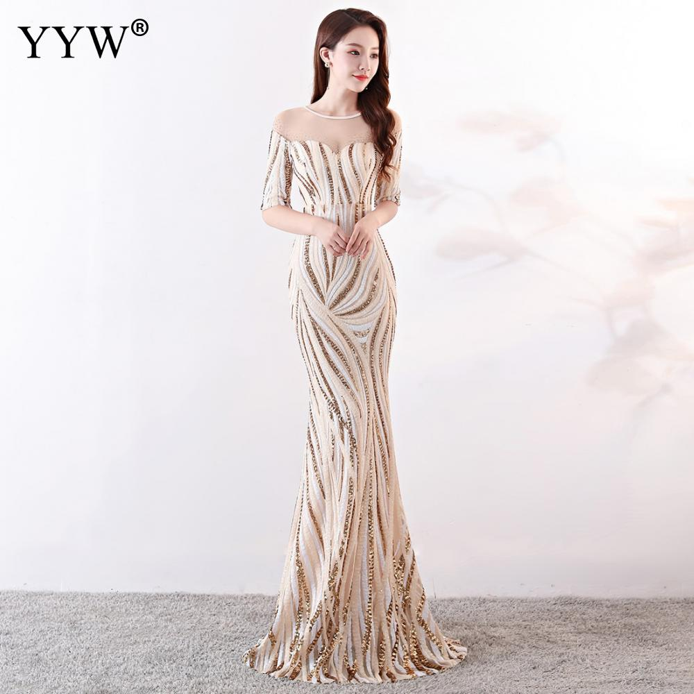 Crystal O Neck Striped Sequined Mermaid Long Dresses Elegant Half  Sleeve Illusion Backless Party Formal Gowns Ladies Maxi DressEvening  Dresses