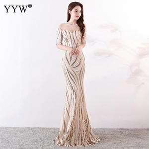 Image 1 - Crystal O Neck Striped Sequined Mermaid Long Dresses Elegant Half Sleeve Illusion Backless Party Formal Gowns Ladies Maxi Dress