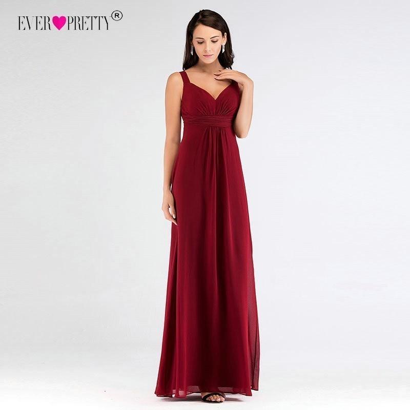 Simple Bridesmaid Dresses Long Cheap Burgundy A line Chiffon Sleeveless Wedding Guest Dress Women Wedding Party Gown Ever Pretty
