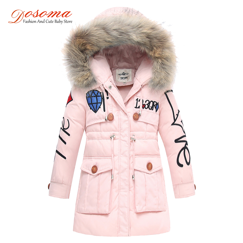 Dosoma Girls Winter Jacket Snowsuit Children's Duck Down Coats Boys Outerwear Faux Fur Collar Hooded Baby Parka Kids Clothes children girls winter coats plus velvet thick hooded sherpa cotton boys outerwear 2 8 years kids parka winter jacket for girls