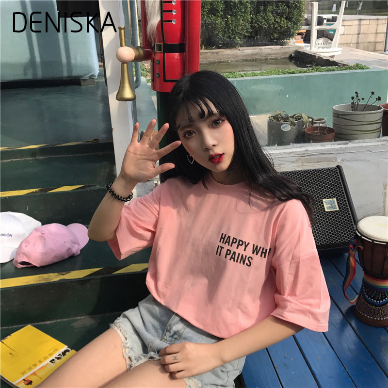 DENISKA Spring 2018 Fashion Casual Tops Oversize Red Pink White Tops Popular New Printing Short Sleeve T-shirt Female Loose Hol