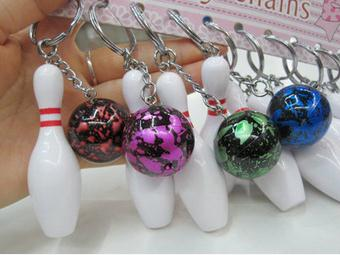 20pcs Bowling Bag Plastic Pendant Mini Bowling Ball Keychain Advertisement Key Chain Fans Souvenirs Key Ring School Gifts